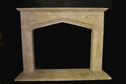 Hand Carved Beige Travertine Gothic Style Fireplace Mantel Sku 9713