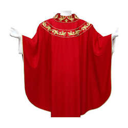 Chasuble 93 Wool With Embroidery On Orphrey Double Twisted Yarn