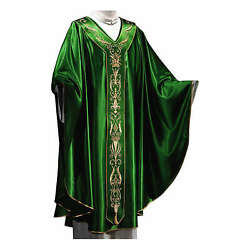Chasuble In Silk Wool With Embroidery
