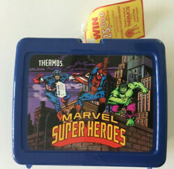 Marvel Super Heroes Thermos Lunch Kit Box 1991 Attached Exterior And Interior Tags