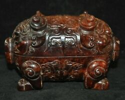Old China Dynasty Feng Shui Hetian Jade Hand Carved Animal Pig Beast Statue Box