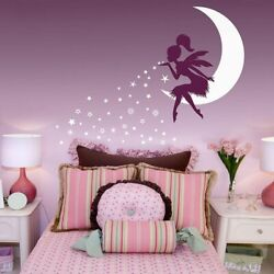 Fairy Moon Wall Stickers for Girls Rooms Pixie Dust Stars Vinyl Decals Kids Gift