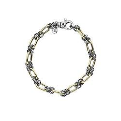 18k Yellow Gold And Sterling Silver Antique Bracelet 8 In.