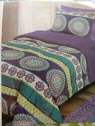 DORM ROOM BED 2 Piece REVERSIBLE Comforter TWIN Purple Lime Green Turquoise Blue