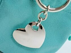 And Co. Sterling Silver Double Heart Charm Keychain Key Ring In Pouch Box