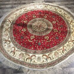 Yilong 6.5'x6.5' Handknotted Silk Round Carpet Traditional Red Area Rug Zw110c