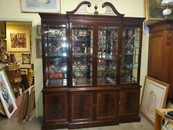 Large Stickley China Cabinet - Flame Mahogany - Maple Inlay - Wow