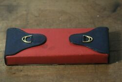 Vintage Gold Stirrup Red And Navy Blue Leather Playing Card Case