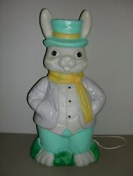 Vintage Empire Blow Mold Plastic Mr.easter Bunny Rabbit Made In The Usa 35 Inch
