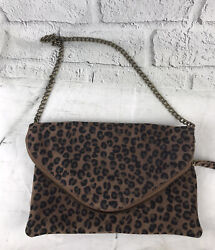 """J.Crew Leopard Envelope ClutchSuede With Silver color Chain details10.5""""x7"""" $38.00"""