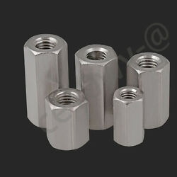 Hex Rod Coupling Nuts Bar Stud Long Nut - A2 304 Stainless M4,6,8,10,12,16,20,24