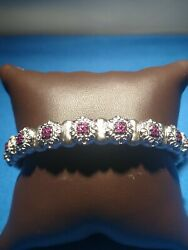 Gabriel And Co. Sterling Silver And Stainless Steel .4 Tdw Ruby Bangle Bracelet.