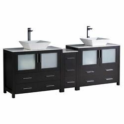 Torino 84 Double Bathroom Cabinets W/ Tops And Vessel Sinks Fcb62-3612360-cwh-v
