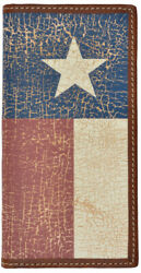 3d Brown Leather Rodeo Wallet Texas Flag Inlay Vintage 7.25x3.5