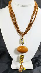 African Trade Large Amber Bead And Venetian Murano Millefiori Beads Necklace
