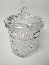 Vintage Lead Crystal Canister Round Cigar Decanter Barware Collectible Glassware