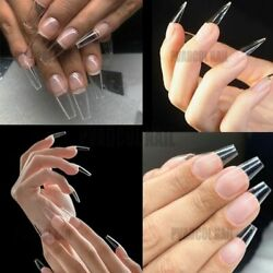 False Nail Tips Extension System Full Cover Sculpted Clear Stiletto Gel X Nails