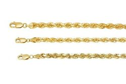 Solid 10k Yellow Gold 5mm-7mm Diamond Cut Rope Chain Pendant Necklace Sz 18-30