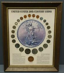 United States 20th Century Coins 24 Coins Uncirculated Kennedy Mint Framed 1972
