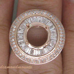Round 8mm 1.9ct Natural Diamond Semi Mount Cluster Halo Ring Solid 14k Rose Gold