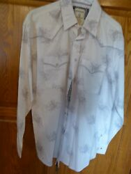 Menand039s L Rough Stock By Panhandle Slim Shirt Nwt White Gray Snaps Western Rodeo
