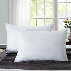 2 Sets Feather Down Bed Pillows Side Sleepers Firm Support Pillow Standard Size