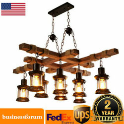 Rustic Wood 8heads Chandelier Industrial Ceiling Lamp Pendant Hanging Light Usa