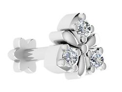0.04cts Certified Ij/si Diamond 925 Sterling Silver Three Stone Floral Nose Pin