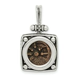 Sterling Silver Bronze Antiqued Widows Mite Coin Charm Pendant 23 Mm X 18 Mm