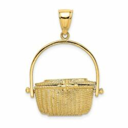 14k Yellow Gold 3-d Nantucket Basket With Moveable Lid Charm Pendant Msrp 1597
