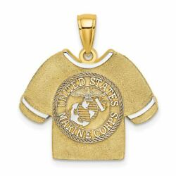 14k Two Tone Gold 2-d Marine Corps T-shirt With Emblem Charm Pendant Msrp 428