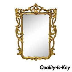 Vintage French Rococo Style Gold Ornate Pierce Carved Frame 50 Wall Mirror