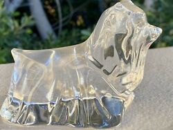 Baccarat France Crystal Yorkshire Terrier Dog Figurine Puppy Paper Weight