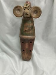 Vintage Mexican Folk Art Ceramic Clay Mayan Male Flute Musical Instrument
