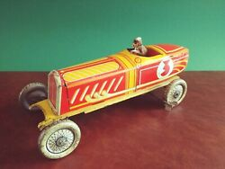 Rare 1930s Ingap Pd 2000 Tin Wind-up Art Deco Open-wheel Race Car Tinplate Racer