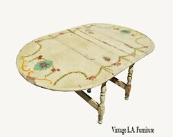 Vintage Hand Paint Shabby Chic White Dining Room Table Drop Leaf French Country
