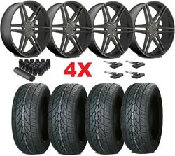 22 Black Wheels Rims 285 45 22 Lionhart Tires Gmc Sierra Dub Skillz Dark Tint