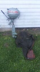 Vintage Outboard Boat Motor Johnson Seahorse W/ Cloth Cover