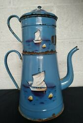 Antique 1940 French Enamelware Toleware Coffee Pot Enamed Boats Rare Decor 17