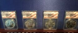 American Silver Eagle 1986-1989 Anacs Ms70 Flag First Years Of Issue 4 Coins
