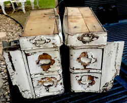 Antique Architectural Wood Sewing Drawers Lot Chippy White Patina Old Original