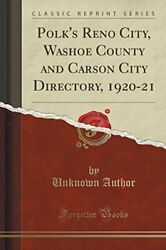 POLK'S RENO CITY WASHOE COUNTY AND CARSON CITY DIRECTORY By Unknown Author NEW