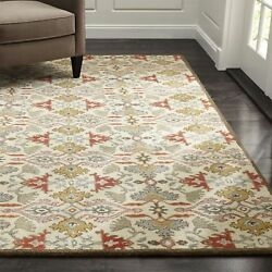 Crate And Barrel Delphine Orange 5and039 X 8and039 Handmade 100 Wool Area Rugs And Carpet