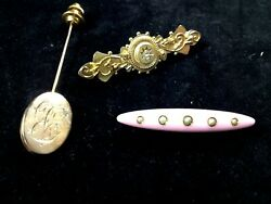 Three Antique Pins One Stick Pin And Two Brooches.