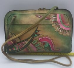Anuschka Hand Painted Leather Handbags Preowned Ten Inch Bag