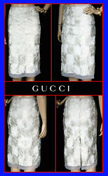 F/w 2002 Tom Ford For Off-white Hand-embroidered Dress Skirt 40 - 6