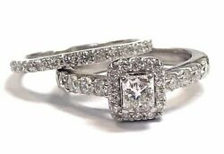 1.58ct Cushion Cut Diamond Halo Engagement And Wed Ring 14k Whiteretail 5970.00