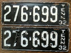 1932 Tennessee License Plate Tag Pair - 276-699