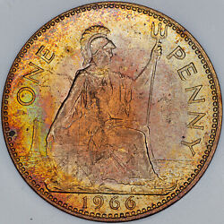 1966 Great Britain One Penny Slabbed Bu Unc Toned Color Stunning Gem Mr