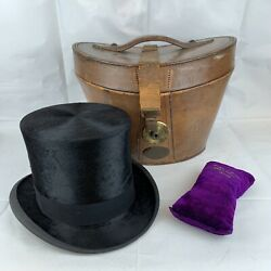 Antique Leather Top Hat Case / Box Brass Lock And Tress And Co Top Hat
